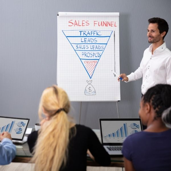 Man teaching about sales funnels