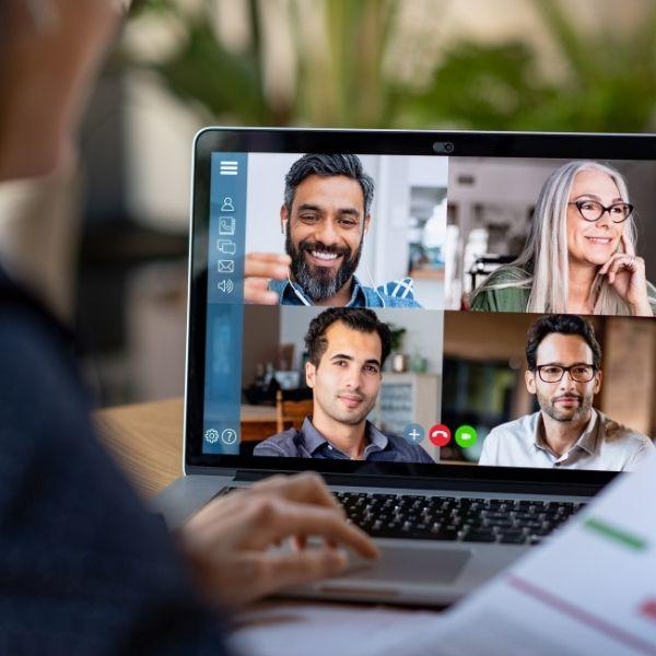 Webinar conference on a laptop